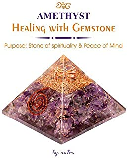 Aatm Exclusive Amethyst Orgone Pyramid for EMF Protection Chakra Healing Meditation with Crystal and Copper (3 and 3 Inches)