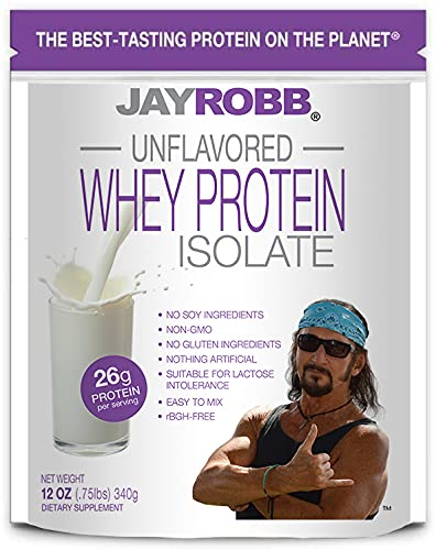 Jay Robb - Grass-Fed Whey Protein Isolate Powder, Outrageously Delicious, Unflavored, 11 Servings (12 oz)