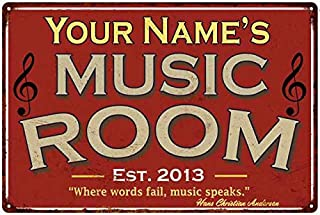 Your Name Personalized Music Room Red Sign Wall Décor Gift Metal 8x12 Metal 208120105001