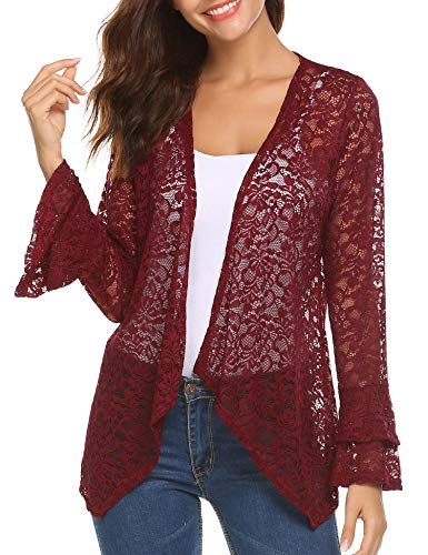 Deawell Women's Casual Lace Crochet Cardigan 3 4 Sleeve Sheer Cover up Jacket Plus Size (Wine Red, S)