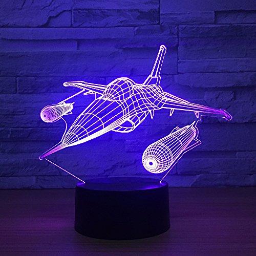 Cool Aircraft LED 3D luz nocturna avión de aire USB lámpara de mesa de escritorio táctil para niños dormitorio iluminación decorativa regalo de Navidad