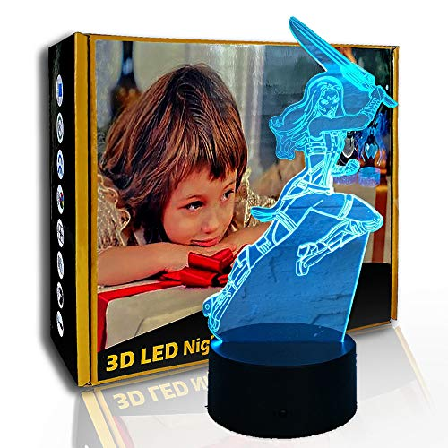 JINYI 3D Nachtlicht Super Woman Action, LED Illusionslampe, Dekor Geschenk, G - Handy-Kontrollbasis, Raumbeleuchtung, Modernes Dekor, Kinderlampe, Weihnachtsgeschenk