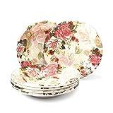 Gallery99 Combo Floral Round High Grade Melamine Quarter Serving Plates - Set of 6