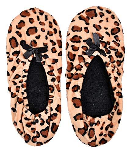 Ozabi – Hausschuhe für Damen, Infinitif Komfort, mehrfarbig, - Leopard Ballerina Savane - Größe: 37 EU