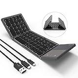 Jelly Comb Faltbare Bluetooth Tastatur mit Touchpad, Wireless Bluetooth Keyboard & Wired QWERTZ Tastatur mit USB/USB C/Micro USB Kabel für Android Windows iOS Handy Tablet, Grau