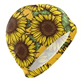 Gebrb Cuffie da Nuoto,Cuffie da Bagno,Cuffia Piscina Swim cap Sunflower Pattern Swimming Hat Cover Ears No-Slip Bathing cap for Men