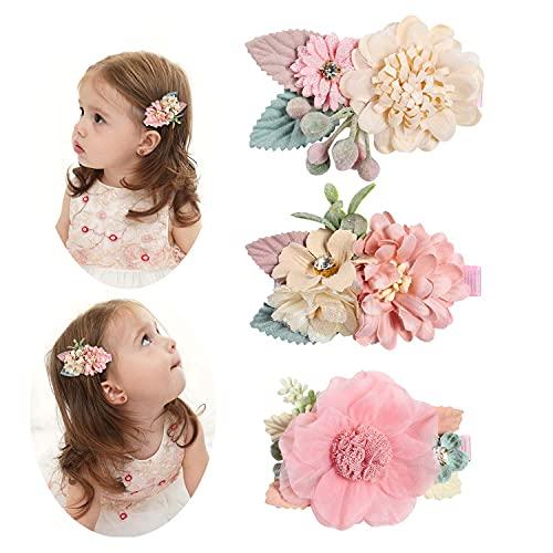 FUHSI 3 Stück Blume Haarklammern, Haarspangen Mädchen Schön Blumen Set, Baby Künstliche Kopfblume Haarschleife Haar Clip Haarbögen Haarschmuck für Jugendliche Kinder Kleinkind (Rosa-C)