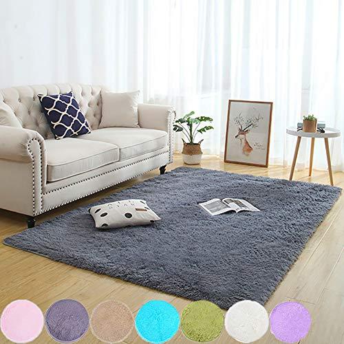AMCER Cabecera Alfombras 200x270cm, Alfombras pie de Cama, contemporánea Ultra Suaves, para niños Dormitorio Decoración para el hogar Alfombras de - Gris