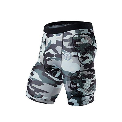 TUOYR Body Safe Garde Rembourr¨¦ Compression Sports Shorts de Protection Rib Jam Protecteur Camo Pantalon pour Football Basketball Paintball Rugby Parkour Extreme