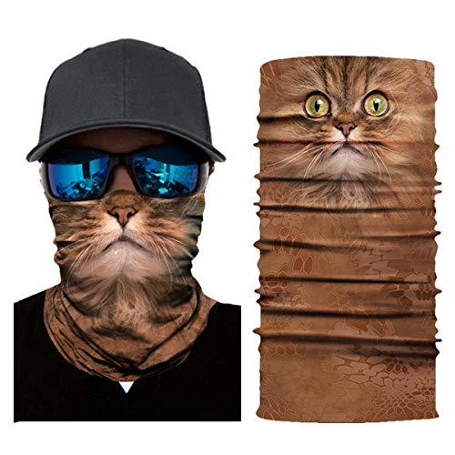 Josopa 3D Animal Print Naadloze Sjaal Bandana Neck Gaiter Gezicht Masker Hoofd Wikkel Bandana Magic Sjaal voor Outdoor Fietsen Vissen Camping Wandelen Ac015