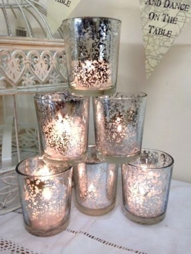 Set of 6Mercury Glass Silver Tea Light Holders Candle Votive Wedding Decoration