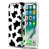 ZhuoFan Funda para iPhone XS/iPhone X,5.8'' Transparente Silicona Caso Carcasa de telefono Suave TPU Slim Ultrafina Clear Protectora Bumper Case Cover Movil Cárcasa Fundas para iPhoneXS,Patrón de Vaca