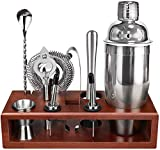 Cocktail Shaker Set Bartender Kit with Stand 24 OZ for Tequila Whiskey, Bar Kit Drink Mixer Shaker Set Including Martini Shaker, Mojito Muddler, Jigger, Mixing Spoon, Hawthorne strainer