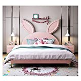 Cama juvenil para niña, color rosa, romántico, con conejo, 1800 x 2000 mm