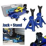 2 Ton Hydraulic Trolley Floor Jack + 3 Ton Axle Stands Heavy Duty