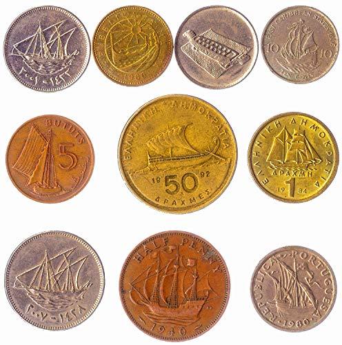 10 Verschiedene Münzen mit Schiffen: Galeonen, Trireme, Karavellen, Fregatte, Zahnräder, Karacken