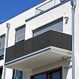 SHADE SPRING Cubierta de Valla de privacidad de balcón de guijarros 1 x 5 m Pantallas Protectoras Bridas Adjuntas
