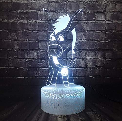 QAZQAZ Película de dibujos animados 3D Óptico Led Sherk Animal Burro 7 Cambio de color Inicio Sleep Lighting Mood Lava Holiday Birthday Kids Gift
