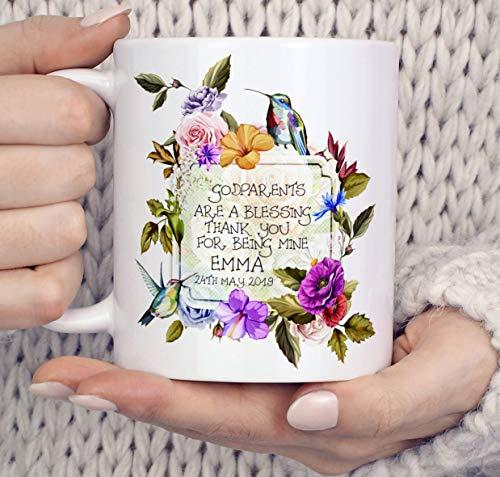 N\A Taza de Agradecimiento de Padrinos Regalo, Taza de colibríes Regalo Personalizado para Madrina, Regalo de Bautizo de colibrí para Regalo de Taza de Padrino