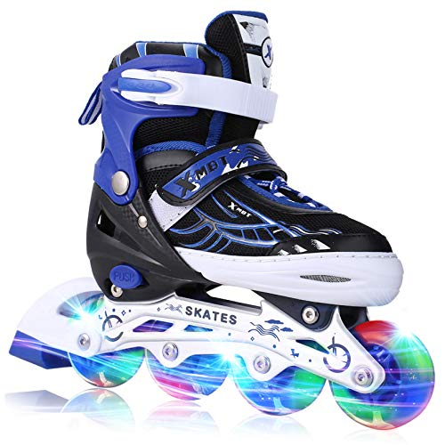 Aceshin Adjustable Inline Skates for Kids, Safe and Durable, Illuminating Roller Skates for Boys and Girls (Black & Blue, US-S-12J-2)