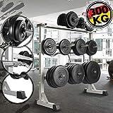 Physionics Support pour Haltères - Musculation, Charge Max. 300 kg, 100 x 95 x 47 cm, en Acier - Rack de Rangement pour Disques de Poids et Barre d'Haltères, Repose Barre