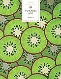 Vokabelheft: Grüne Kiwis Muster. 3 Spalten. 120 Seiten für Vokabeln mit schönem Design. Dreispaltiges Buch mit Soft Cover 8.5x11 Zoll, ca. DIN A4 21.6x27.9cm.