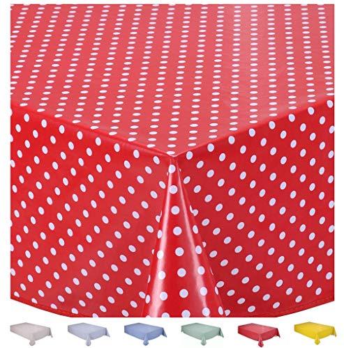 Home Direct Mantel de Hule, Rectangular 140 x 180cm Lunares pequeños Rojo