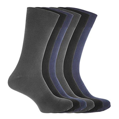 Floso Herren Socken, 6er-Pack (39-45 EU) (Schwarz/Marineblau/Anthrazit)