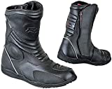 BI ESSE - Stivaletti Moto Enduro Touring, in vera pelle, impermeabili, Certificati (Nero, 40)