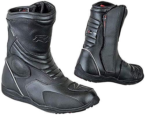 BI ESSE - Stivaletti Moto Enduro Touring, in vera pelle, impermeabili, Certificati (Nero, 46)