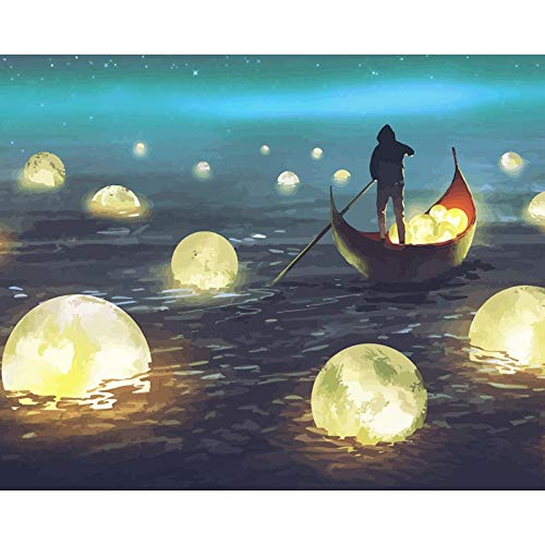 Barco de pesca pintura de bricolaje por números kits de pintura pintura al óleo abstracta por números en lienzo para pintar cuadros de arte de pared A23 40x50cm