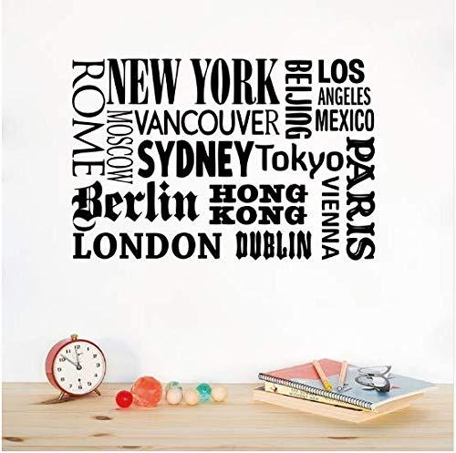 Nueva York, Londres, París, cita pegatinas de pared nombre de la ciudad mundial de vinilo tatuajes de pared arte DIY decoración de la oficina en casa