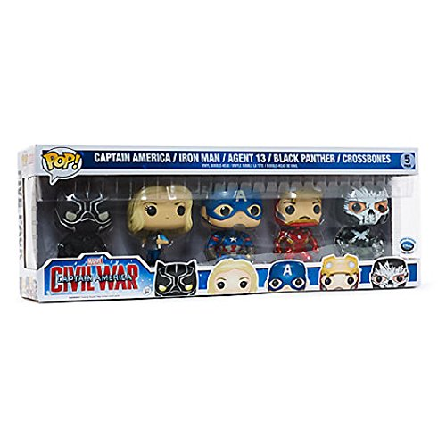 Funko POP! Marvel Capitán América Civil War: Capitán América + Iron Man + Agent 13 + Black Panther + Crossbones Exclusivo
