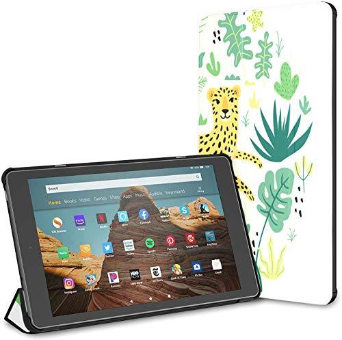 Estuche para Tableta Wild Strong Leopard Animal Fire HD 10 (novena/séptima generación, versión 2019/2017) Estuche para Tableta de 10 Pulgadas Estuche para Lector Kindle Auto Wake/Sleep para Table