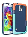 TILL for Galaxy S5 Case, TILL(TM) Ultra Slim 3 Color Hybrid Impact Anti-Slip Shockproof Soft TPU Hard PC Bumper Extra Front Raised Lip Case Cover for Samsung Galaxy S5 I9600 GS5 [Blue]