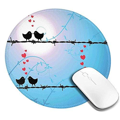 Ronde muismat, kussen vogels op prikkeldraad met kleine harten romantisch ontwerp, antislip Gaming Mouse Mat
