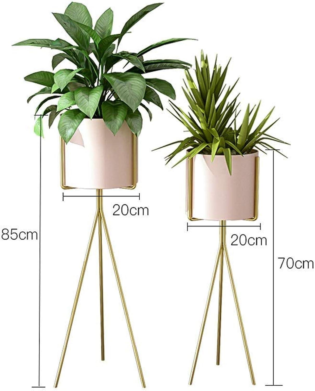 Plant Bonsai Display Stand, Metal Floor Flower Pot Storage Shelf, Decorative Living Room Bedroom Office Garden, Nordic Minimalist Pink (Size   S+L)