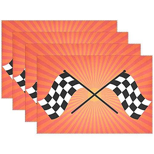 Deux Drapeaux de vérificateur de Finition sur des nappes de Rayons de Soleil Orange, napperons lavables résistants à la Chaleur pour Le Potager, Ensemble de 4