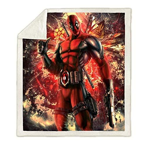 WOEJGO Marvel Comics Deadpool Decken und Plaids, 3D bedruckt, Reisedecke, Flanell, Camping, Reisen, Decken (8,150 x 200 cm)