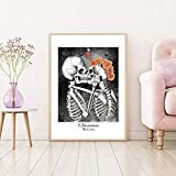 QZROOM Die Liebenden Schädel Skelett Poster Leinwanddrucke