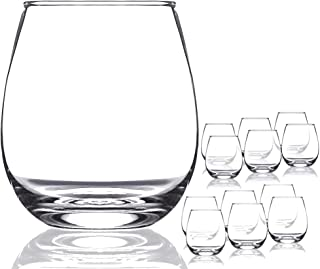 Chef`s Star Shatter-Resistant Stemless Wine Glass Set (12 Pack)
