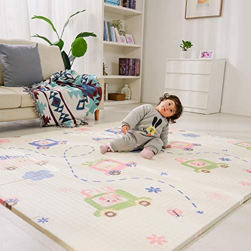 Bammax Baby Spielmatte, Babymatte, Baby Krabbelmatte, Faltbare Baby Bodenmatte, Umweltfreudlich Doppelseiten Spielbar Wasserdicht Ungiftig XPE Schaumstoff, BPA Frei, Tiere mit Autos, 200x180cm