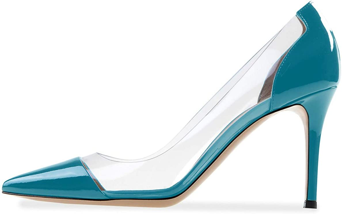 YODEKS Women's Cap Toe Pumps 85mm 低価格 Heel Transparent 送料無料 新品 Shoes High St