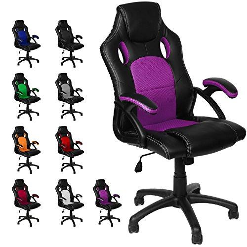Gamer Stuhl Gaming Schreibtischstuhl Chefsessel Bürostuhl Ergonomisch, Lila, 9 Farbvarianten, gepolsterte Armlehnen, Wippmechanik, belastbar bis 150 kg, Lift TÜV geprüft, Panorama24