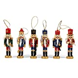 Juvale 6-Pack of Christmas Tree Decorations - Hanging Wooden Decorations, Nutcracker Doll Christmas Ornaments, Festive Embellishments, 6 Assorted Designs