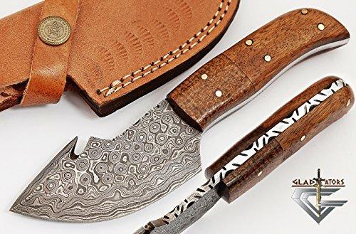 GladiatorsGuild Custom Damascus Steel Skinner Hunting Knife