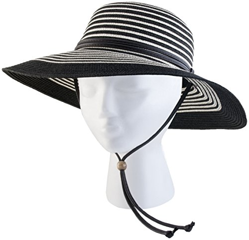 Sloggers 442BW Women's Braided Wide Hat Black/White