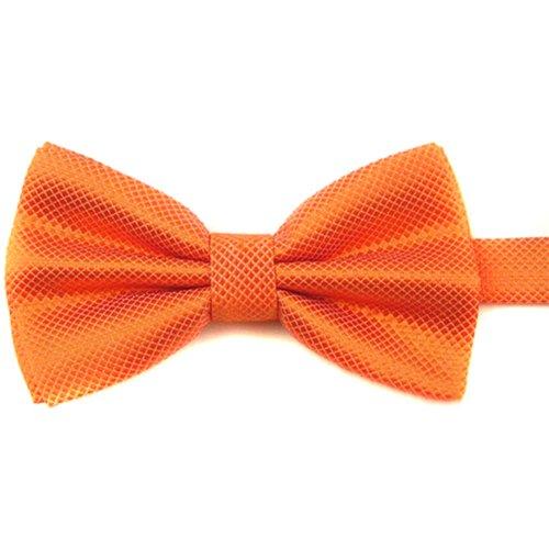 Sanwood Cravate Pré Liée Nouveau Hommes Pur Papillon Polyester Mariage Multicolore (Orange)