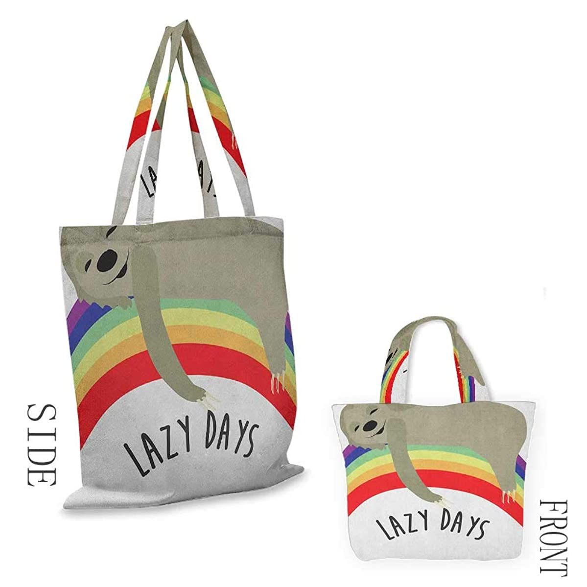 """shopping bag for women SlothLazy Days Phrase with Carefree Sloth Figure on Rainbow Happiness Relaxation Theme Multicolor18""""W x 16""""H"""