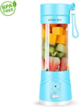 Portable Juicer Blender, Household Fruit Mixer - Six Blades in 3D, 380ml Fruit Mixing Machine with USB Charger Cable for Superb Mixing, USB Juicer Cup by Moer Sky (A)